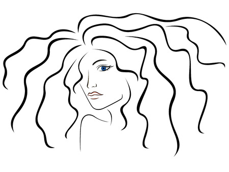 feminity: Sketch outline of woman head illustration Illustration