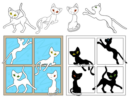 Black and white outlines of cats on the windows, as well as separately on a white background, hand drawing cartoon vector illustration Vector