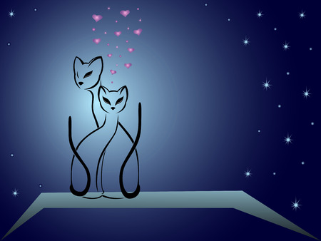 Enamoured cats on a background of dark blue night sky, hand drawing cartoon