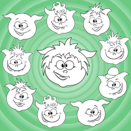 joyous life: Funny small cartoon piglet faces around big pig face against the background of the turquoise concentric circles, hand drawing vector illustration