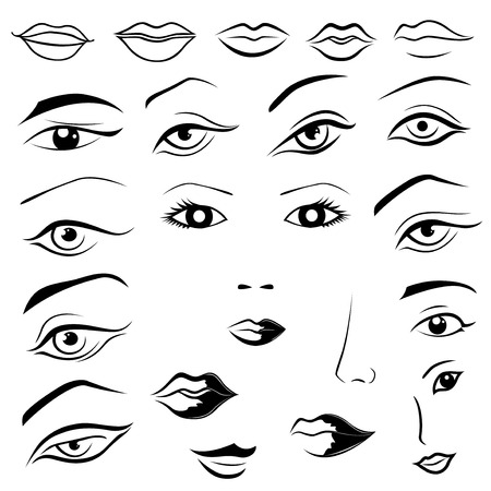 nose: Set of human eyes, lips, eyebrows and noses as black and white