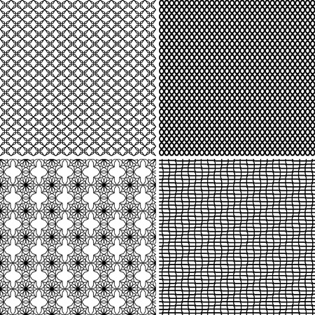 Four different seamless ornamental greed patterns in one file collected. Black and white vector illustration Vector