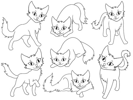 li: Seven funny cartoon cats over white background, hand drawing vector illustration Illustration