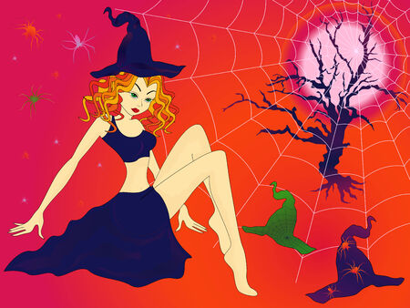 damsel: Elegant Halloween girl with green eyes among sinister cobwebs and spiders in moonlight night, hand drawing vector illustration