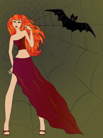 damsel: Halloween girl with green cat eyes and bright fiery red hair against the background of a large cobweb along with a flying bat, hand drawing vector illustration
