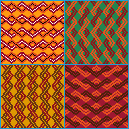 Four different vector seamless ornaments on ethnic motifs in a single file