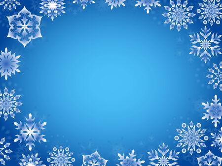 p�rim�tre: Carte de voeux avec des flocons de neige azur autour du p�rim�tre, dessin � la main illustration vectorielle