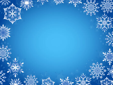 perimeter: Greeting card with azure snowflakes around the perimeter, hand drawing vector illustration