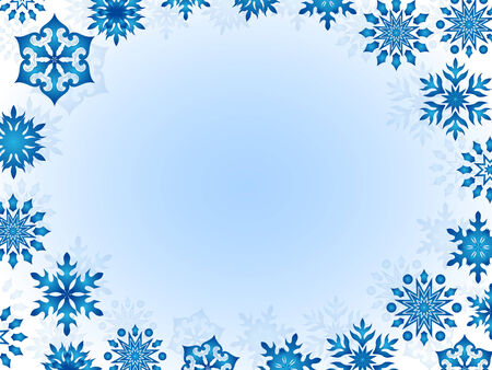 perimeter: Greeting card with snowflakes around the perimeter, hand drawing vector illustration