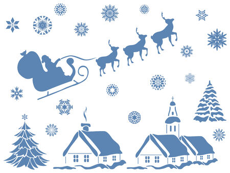 house of santa clause: Set of design elements with Christmas motifs, hand drawing vector illustration Illustration