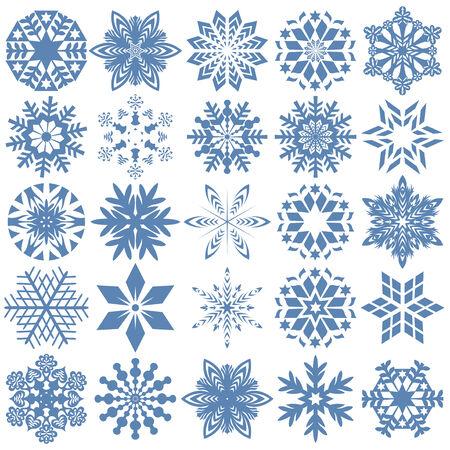 twenty: Set of twenty five blue snowflakes over white, hand drawing vector design elements