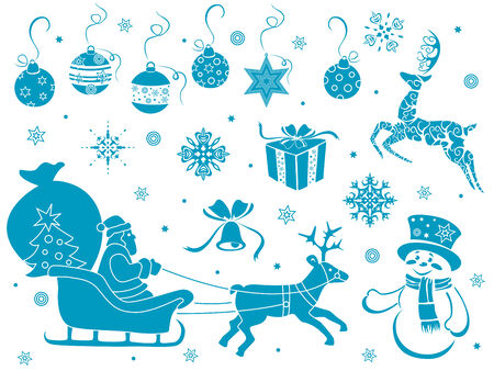 Set of design stencils with Christmas motifs, hand drawing vector illustration Vector