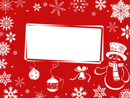performed: Christmas greeting card performed in red shades, hand drawing vector illustration Illustration