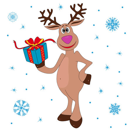 Christmas Reindeer holding a gift, hand drawing cartoon vector illustration Vector