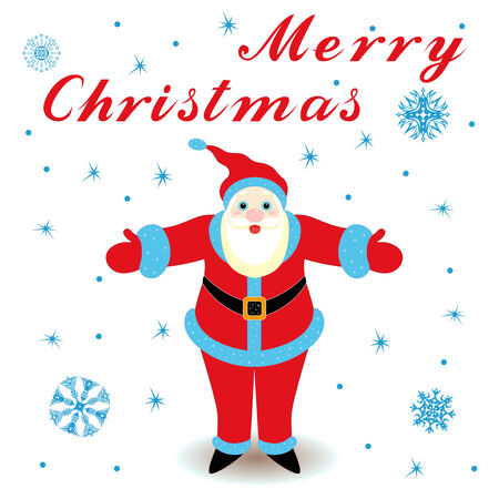 marry christmas: Marry Christmas with happy Santa Claus, hand drawing cartoon vector greeting card Illustration