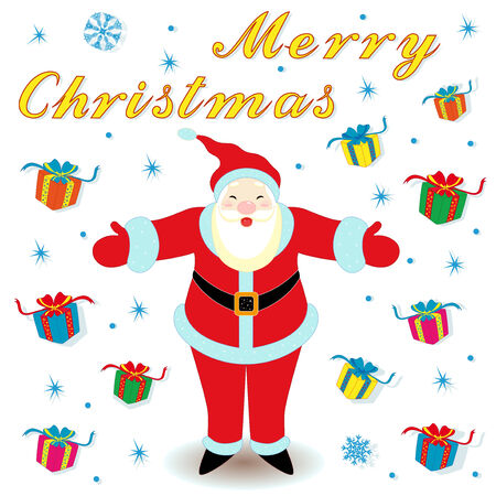 marry christmas: Marry Christmas with happy Santa Claus and many gifts, hand drawing cartoon vector illustration