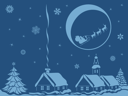 Village in calm Christmas night with Santa Claus and reindeer on Moon background, hand drawing vector bicolour illustration Illustration