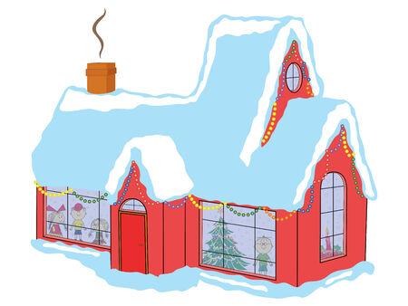 awaiting: Ni�os felices en la casa cubierta de nieve en espera de Pap� Noel antes de Navidad, dibujo a mano ilustraci�n vectorial