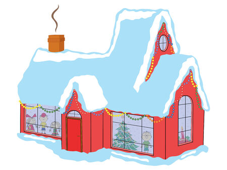 Happy children in snow-covered house awaiting Santa Claus before Christmas, hand drawing vector illustration Illustration