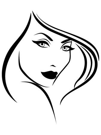 Beautiful stylish young woman, laconic sketching