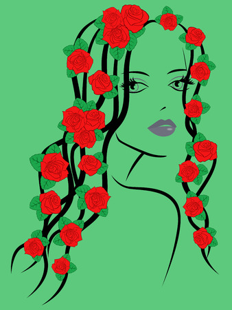 green hair: Beautiful fashionable young girl portrait with red roses on hair over green