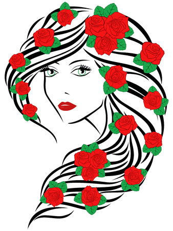 feminity: Beautiful fashionable young women portrait with red roses on hair over white