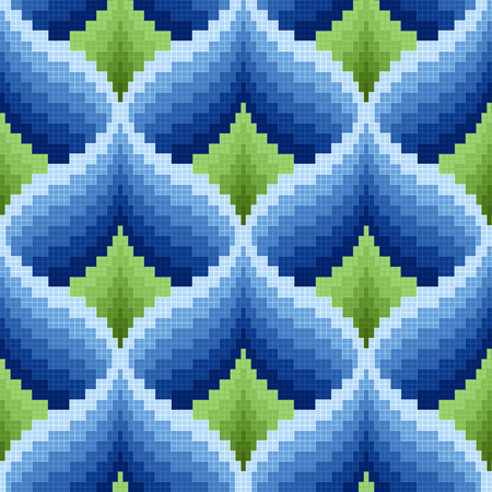 hues: Ornamental seamless vector pattern like a pseudo 3D image in blue and green hues