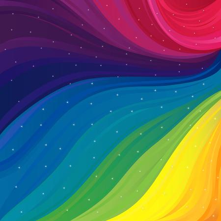가시 스펙트럼 및 반짝 스타, 벡터 일러스트의 모든 기본 색을 사용 하여 추상 잡 색 패턴
