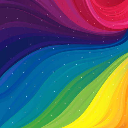 Abstract variegated pattern with all primary colors of visible spectrum and sparkling stars, vector illustration