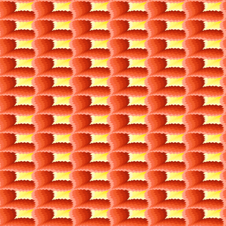 terracotta: Ornamental seamless vector pattern like a pseudo 3D image in terracotta and yellow hues
