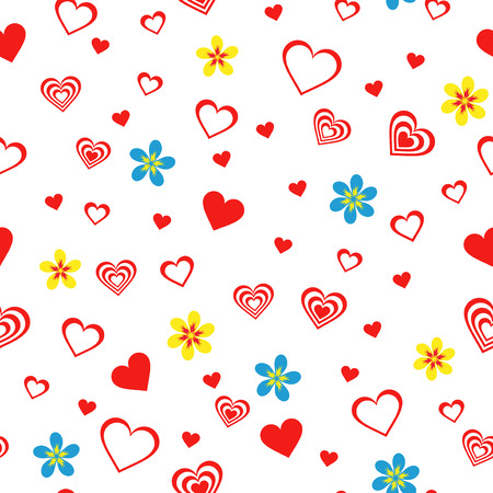 Seamless vector pattern with flowers and different red Valentine hearts on the white background Vector
