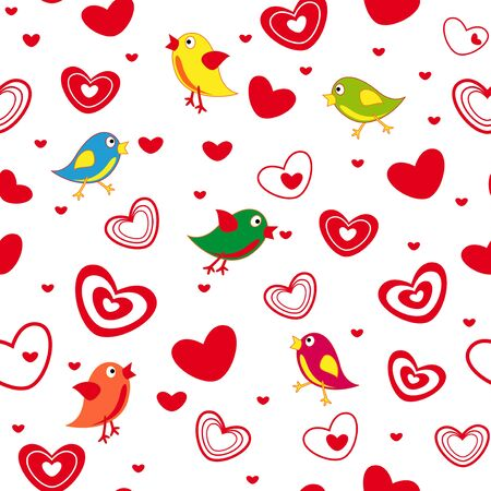 dispersed: Seamless vector pattern with cute birds and different red Valentine hearts on the white background Illustration
