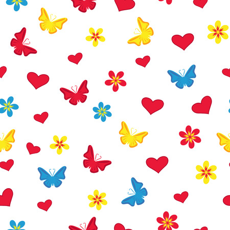 Seamless pattern with hearts, flowers, butterflies and hearts on the white background Vector
