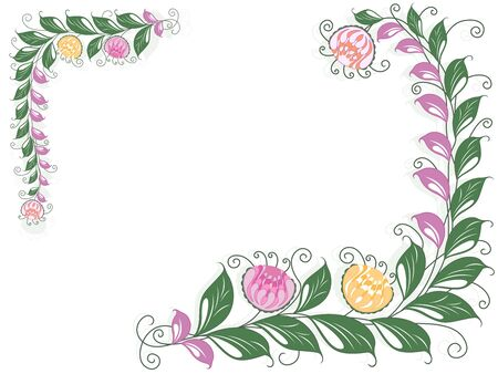 liana: Floral swirl vector postcard with flowering liana on white background Illustration