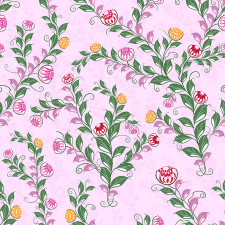 dispersed: Floral seamless vector pattern with flowering plants, hand drawing illustration