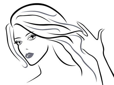 long black hair: Young beautiful women with chic hair, black over white hand drawing vector sketching artwork