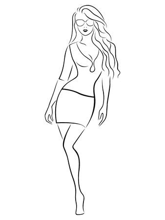 falda corta: Chica graciosa hermosa en una falda corta y gafas, negro sobre las ilustraciones de dibujo vectorial mano blanca