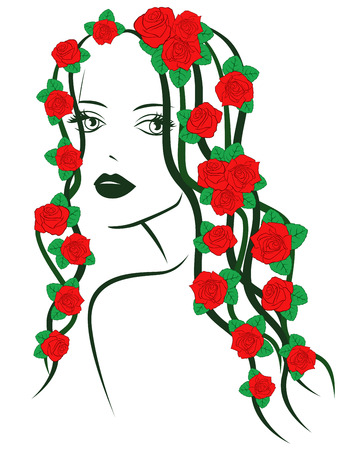 feminity: Beautiful fashionable young girl portrait with red roses on hair over white, sketching vector illustration