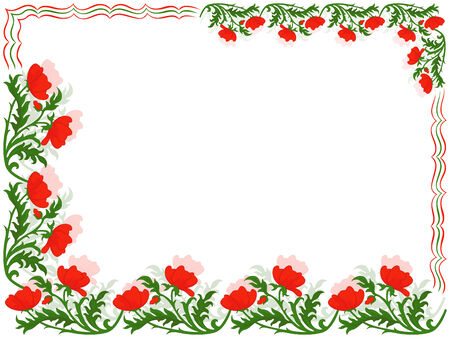 perimeter: Greeting card with placed around the perimeter a floral ornament with red poppies and colourful lines, hand drawing vector illustration Illustration