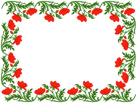 perimeter: Greeting card with placed around the perimeter a floral ornament with red poppies, hand drawing vector illustration Illustration