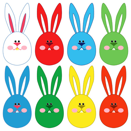 ovoid: Eight stylized colorful Easter rabbit faces isolated on a white background, hand drawing vector illustration