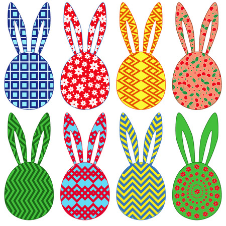 occiput: Eight stylized ornamental colorful Easter rabbit heads isolated on a white background, hand drawing vector illustration