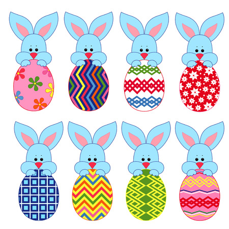 Set of eight little Bunnies with ornamental Easter eggs, hand drawing vector illustration Vector