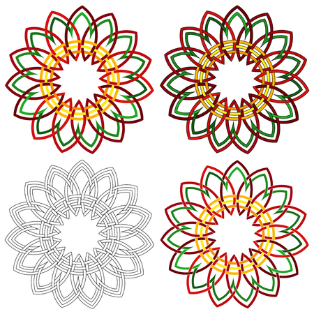 wickerwork: Four abstract colorful vector circular colorful shapes as a wicker patterns with different details in performance Illustration