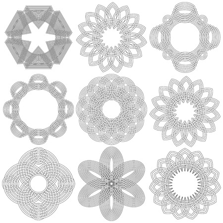 wickerwork: Set of nine abstract vector ornamental black circular stencils on a white background Illustration