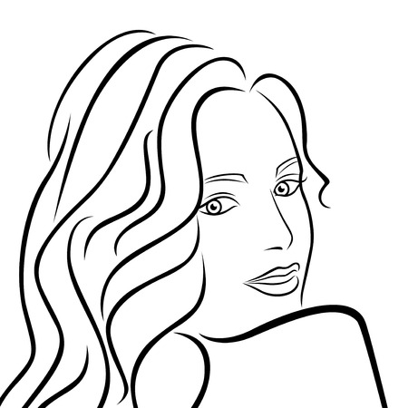 half turn: Abstract outline female half turn portrait, black over white hand drawing vector artwork