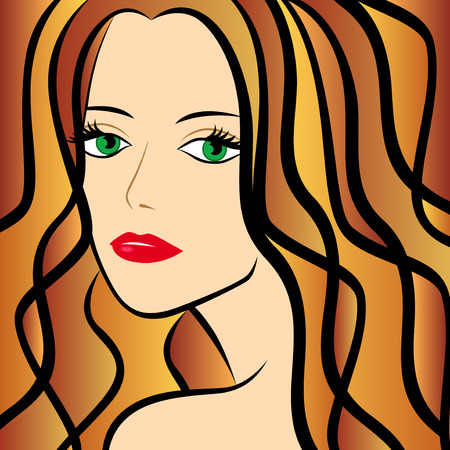 half turn: Abstract female half turn portrait with chestnut hair, colorful hand drawing vector artwork