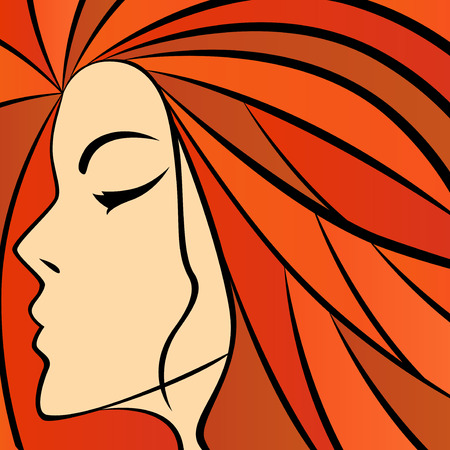 Abstract women portrait with fiery hair, colorful hand drawing vector artwork Vector