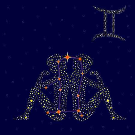 gemini: Zodiac sign Gemini on a background of the starry sky with the scheme of stars in the constellation, vector illustration
