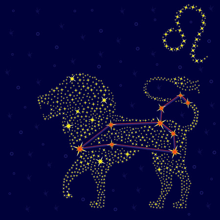 Zodiac sign Leo on a background of the starry sky with the scheme of stars in the constellation, vector illustration